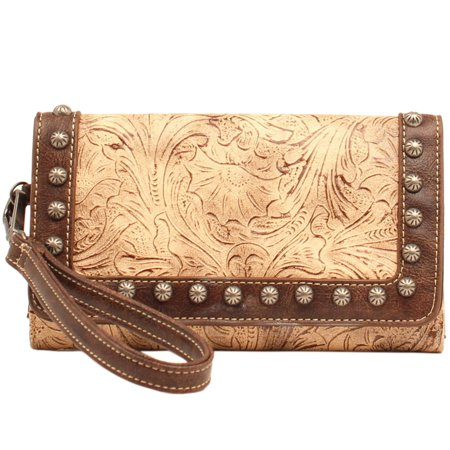 Blazin Roxx Women's Lydia Style Clutch Wallet Taupe Chocolate (Clutch Chocolate)