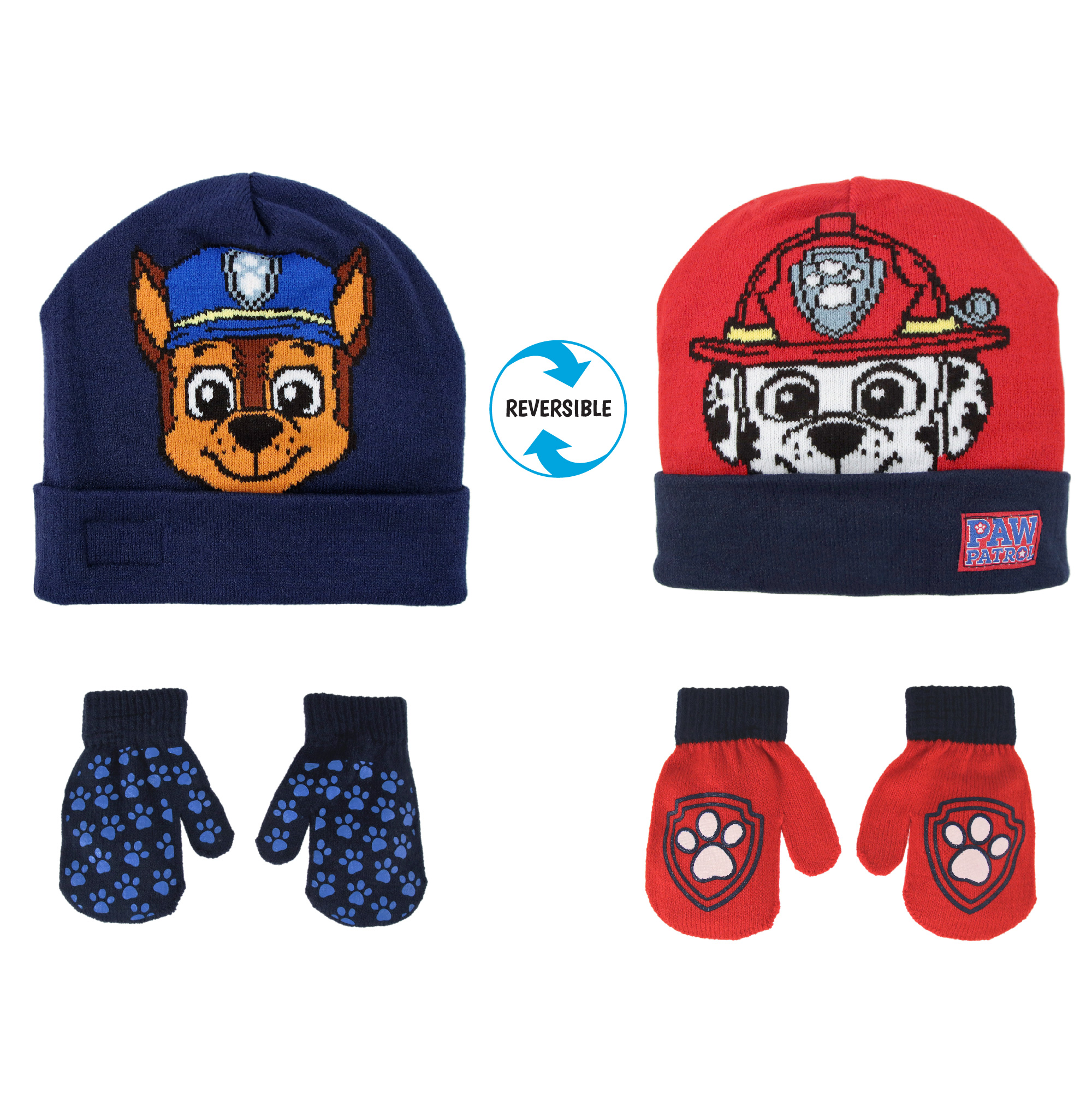 Toddler Boys Chase Winter Hat Mitten Cold Weather Paw Print Set Blue