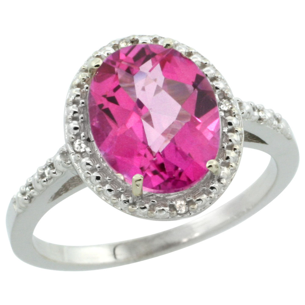 14K White Gold Diamond Natural Pink Topaz Ring Oval 10x8mm, sizes 5 ...