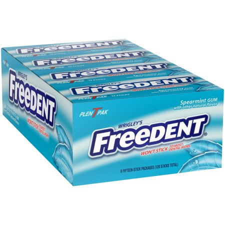 Wrigley's Freedent, Spearmint Chewing Gum, 15 Stick Packs, 8 Count