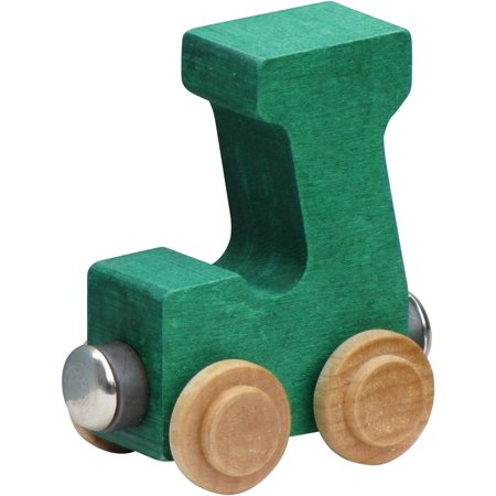 Letter Wood Name Train - Name Train - Bright Color Childrens Wooden Trains Letter J