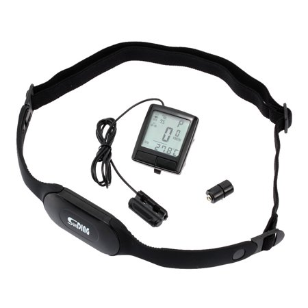 LCD Bike Bicycle Cycling Computer Odometer Speedometer with Wireless Heart Rate Monitor Tester Chest (Heart Rate Monitor Without Chest Strap Reviews)