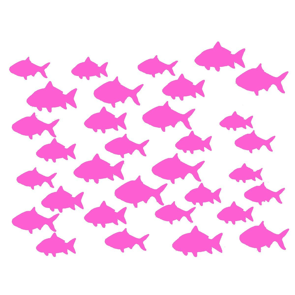 VWAQ Aquatic Animal Stickers, School Of Fish Wall Decor - Peel and Stick Decal, 32 Pack VWAQ (White)