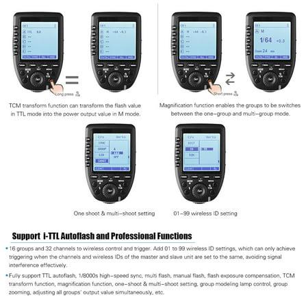 Godox Xpro-N TTL Blitzausl/öser kabellos 2,4 G 1//8000 S HSS Konvert-Manuell TCM-Funktion Transmitter auf gro/ßem LCD-Display f/ür Nikon Ger/äte