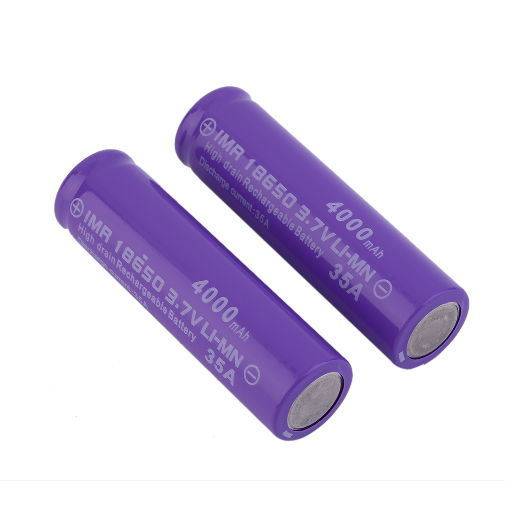 2Packs 4000mAh 3.7v 18650 Battery Button Top with 18650 Battery for High Power Flashlights,Purple + Red