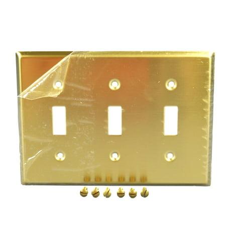 Leviton 81011 Satin Brass Three Gang Toggle Light Switch Wall Plate