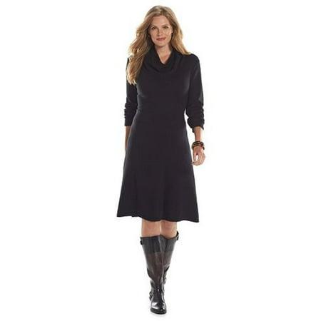 Chaps Women Plus Size Turtleneck Long Sleeve Black Shift Dress 1X
