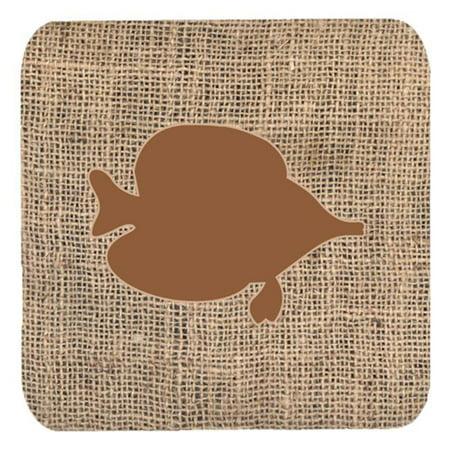 Fish - Tang Fish Burlap And Brown Foam Coasters, Set Of 4