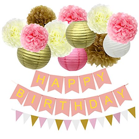 JUSLIN 12 Paper Pom Poms Lanterns 1 Triangular Flag Banner Happy Birthday For Wedding Party Decorations