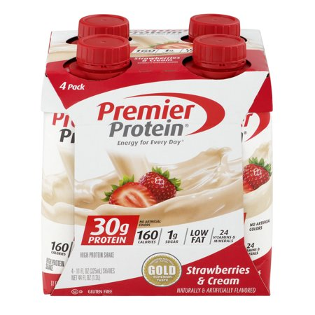 Premier Protein Shakes, Strawberries & Cream, 30g Protein, 11 Fl Oz, 4 (Myoplex Strawberry Cream)
