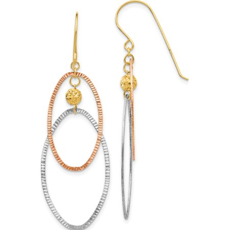 14k Boucles d'oreilles tricolores or Diamond Cut Ouvert Ovales Dangle (18x52mm) - image 3 de 3