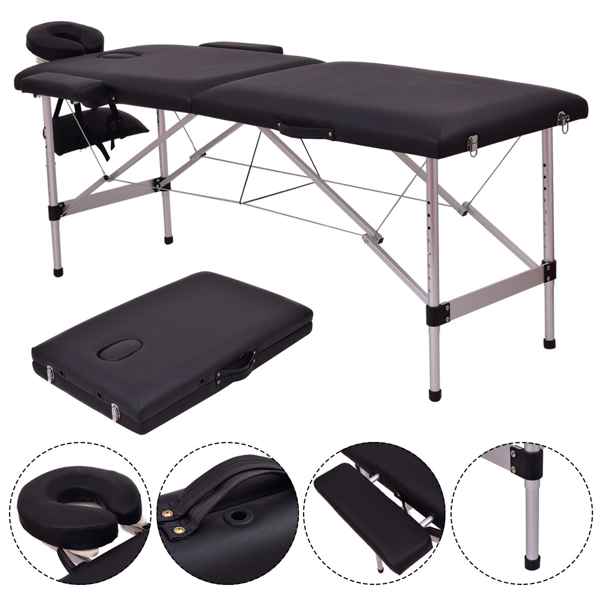 """Ktaxon 73""""-84"""" L x 24"""" W x 32"""" H 2 Section Folding Portable Lightweight Aluminum Massage Therapy Table, for Reiki Facial Spa Tattoo Physiotherapy, Only 35 lb, With Carry Case"""