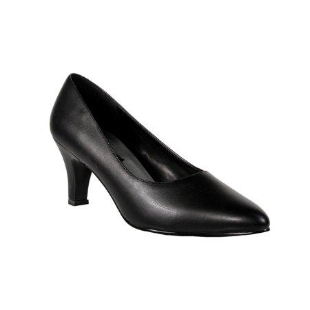 3 Inch Trendy High Heel Shoe Block Heel Classic Pump Black -