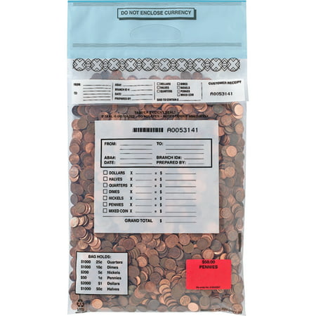 MMF Tamper Evident Coin Tote Bags, Clear, 100 / Box (Quantity)