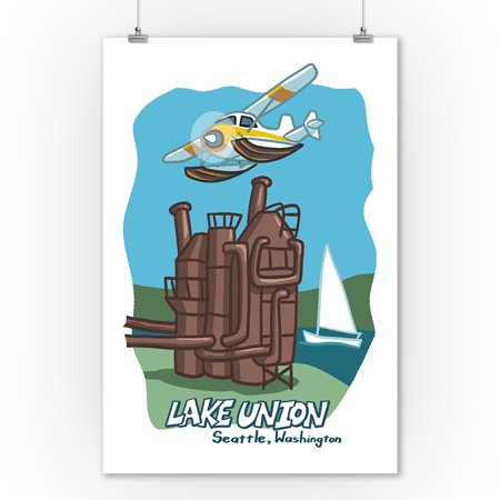 Union Lantern (Seattle, Washington - Lake Union - Cartoon Icon - Lantern Press Artwork (9x12 Art Print, Wall Decor Travel Poster) )