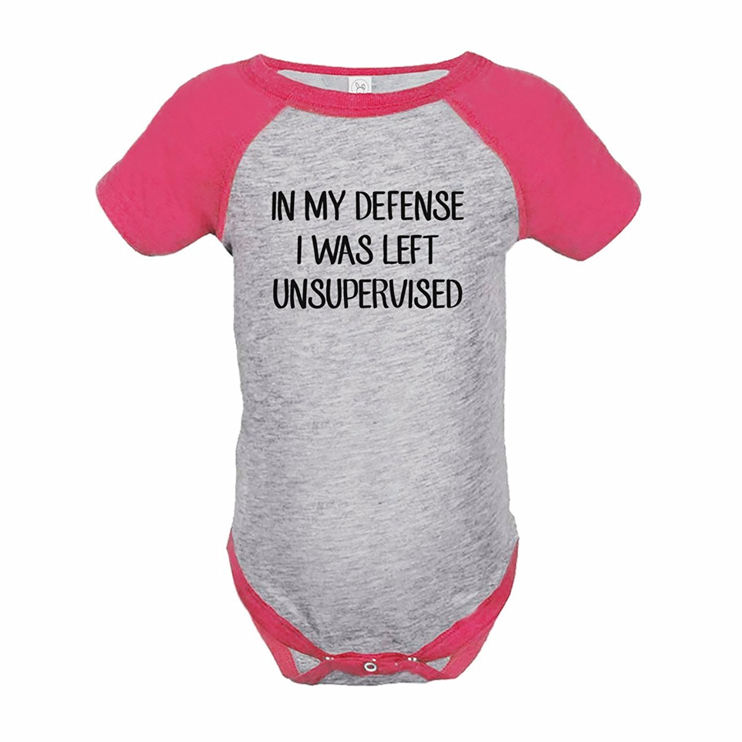 7 ate 9 Apparel Funny Kids Unsupervised Baseball Onepiece Pink - 6 Months
