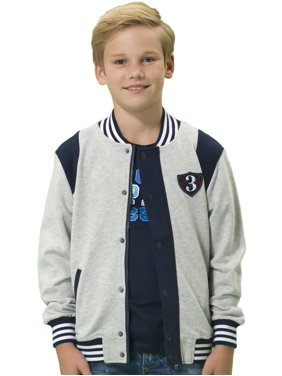 Leo&Lily Boys' Casual Colors Panels Fleece Baseball Jacket