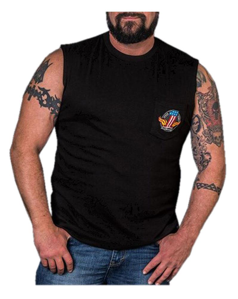 Harley-Davidson Men's Legendary Strength Chest Pocket Sleeveless Tee, Black, Harley Davidson by Bravado