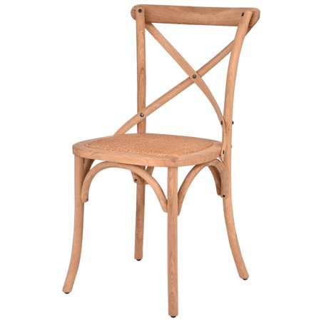 Costway Cross Back Dining Side Chair Rattan Seat Oak Frame Kitchen Furniture - Providence Oak Natural