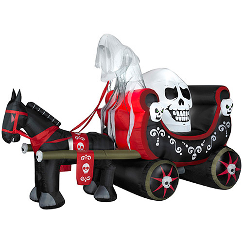 Gemmy 8'H x 12'L Airblown Halloween Inflatable Skully Wagon Scene