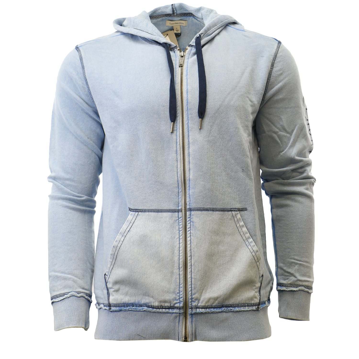 Calvin Klein Washed Full Zip Hoodie Sweat Jacket Hooded Sweatshirt - Mens