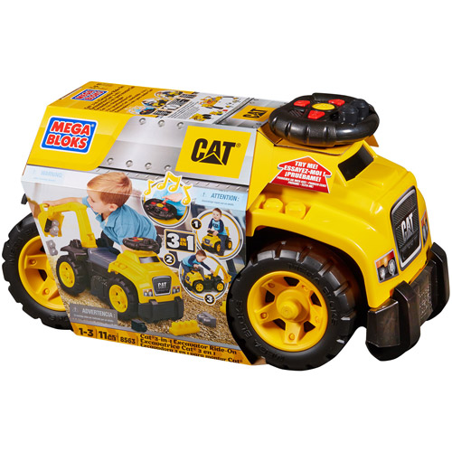 Mega Bloks CAT 3-in-1 Toddler Ride On Caterpillar with Excavator Arm | DCH13