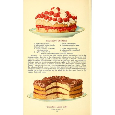 The Business of being a Housewife 1917 Strawberry Shortcake & Chocolate Layer Cake Stretched Canvas -  (24 x 36)