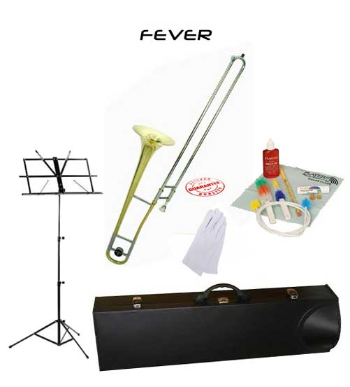Fever Student Slide Gold Lacquer B Flat Trombone School Package with Case, Music Stand and... by Fever
