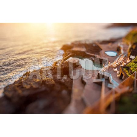 Natural Pools in Charco Azul Resort on La Palma Island on the Sunrise in Spain. Tilt-Shift Effect Print Wall Art By RossHelen