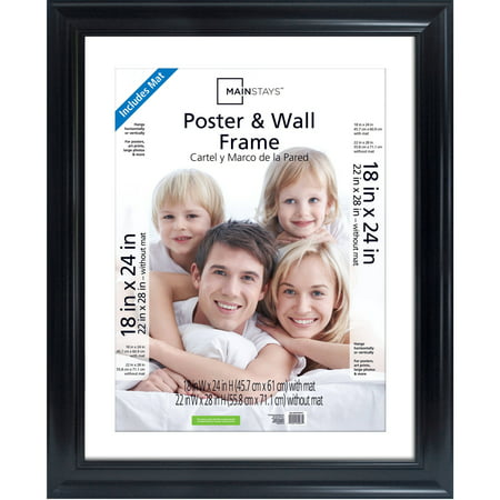 Mainstays 22x28 Matted to 18x24 Wide Poster and Picture Frame, Black ...