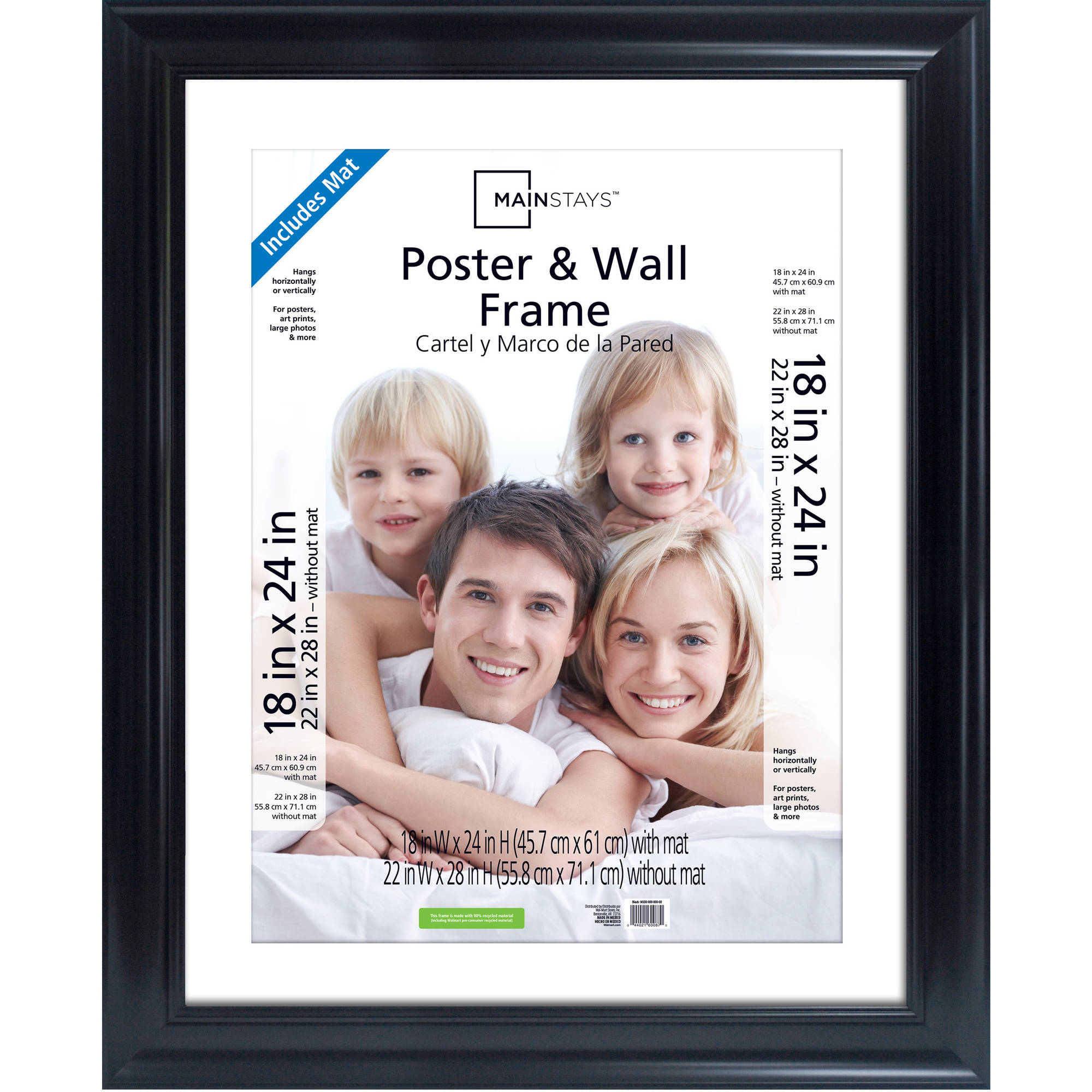 Mainstays 22x28 Matted to 18x24 Wide Black Poster and Picture Frame