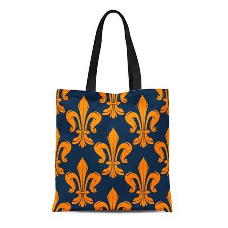 KDAGR Canvas Tote Bag Victorian Floral Pattern Medieval Orange Fleur De Lis Flowers Reusable Shoulder Grocery Shopping Bags Handbag