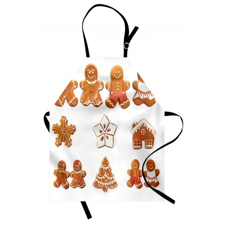 Gingerbread Man Apron Vivid Cute Christmas Gingerbread Biscuits Set Snowflake House Tree, Unisex Kitchen Bib Apron with Adjustable Neck for Cooking Baking Gardening, Pale Brown White, by Ambesonne