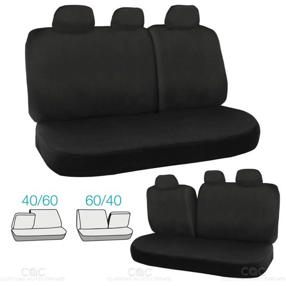 BDK 60 40 Rear Bench Car Seat Covers Easy Installation Black