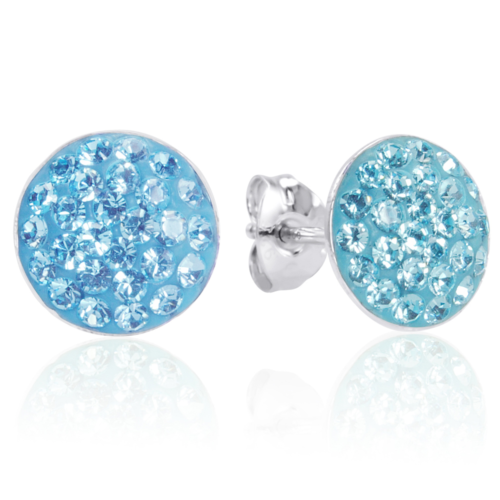 Amanda Rose Collection Sterling Silver Aqua Blue Crystal Stud Earrings with Swarovski Elements