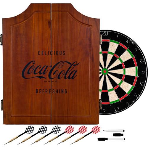 Coca Cola Wood Dart Cabinet Set - Engraved Logo