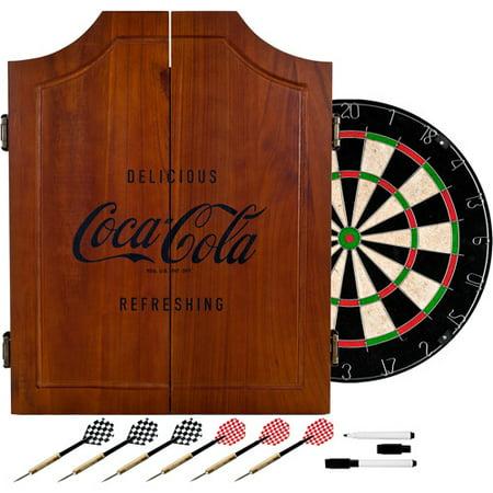 Coca Cola Wood Dart Cabinet Set   Engraved Logo