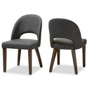Set of 2 Baxton Studio Wesley Mid-Century Modern Dark Grey Fabric Upholstered Walnut Finished Wood Dining Chair