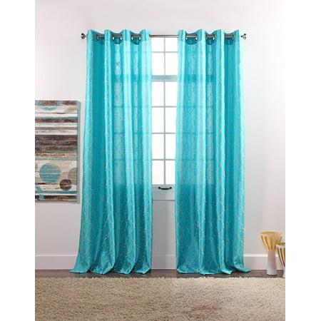 2 Pack Faux Silk Trellis Grommet Curtain Panels Turquoise