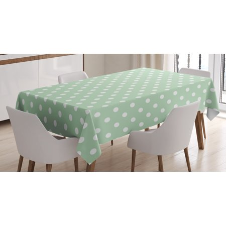Mint Tablecloth, Classical Old Fashioned Polka Dots Pattern on Light Green Fresh Background, Rectangular Table Cover for Dining Room Kitchen, 52 X 70 Inches, Mint Green and White, by Ambesonne