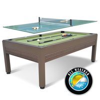 Classic Sport 84 Inch Outdoor Wicker Billiard Table with Table Tennis Top; includes all accessories