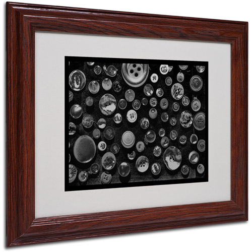 """Trademark Fine Art """"Black & White Buttons"""" Matted Framed Art by Patty Tuggle, Wood Frame"""
