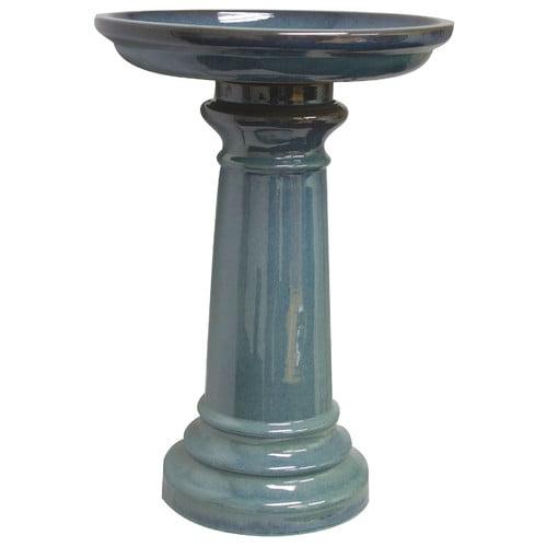 Sun Pottery Classic Ceramic Two-Piece Birdbath, Light Blue by Gardman USA