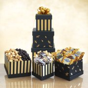Black & Gold Elegance Chocolate Tower Gift Basket