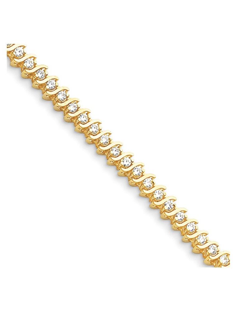 14k Yellow Gold S-Link Diamond Tennis Bracelet by