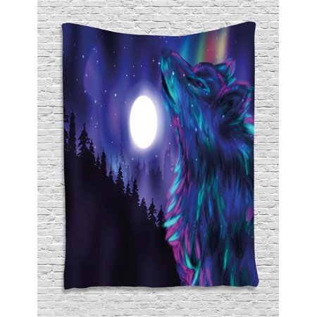 Moon Tapestry, Northern Imagery with Aurora Borealis Wolf Spirit Magical Forest Starry Night, Wall Hanging for Bedroom Living Room Dorm Decor, Indigo Aqua Magenta, by Ambesonne ()