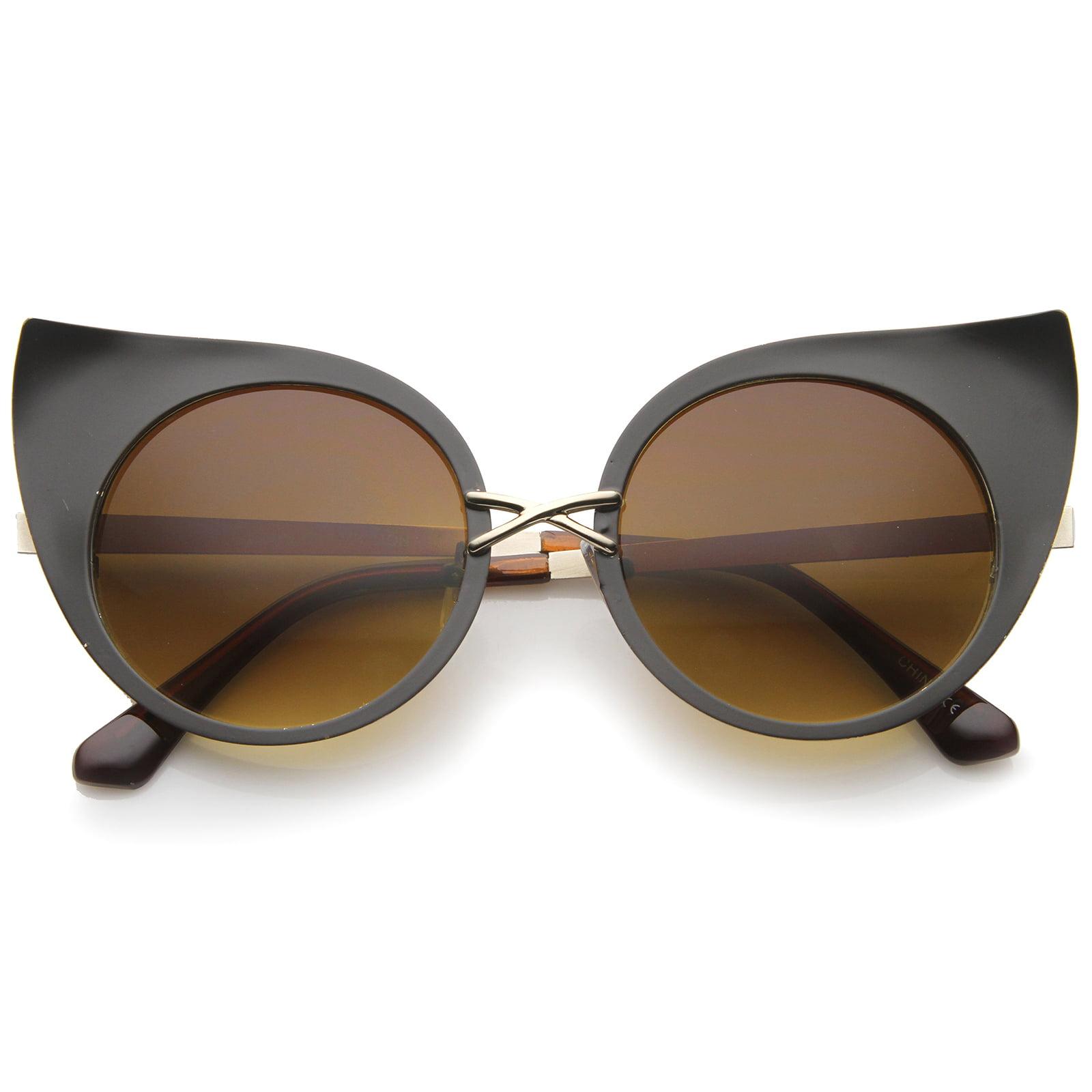 sunglassLA - Women's Fashion Exaggerated Curved Round Cat Eye Sunglasses - 47mm