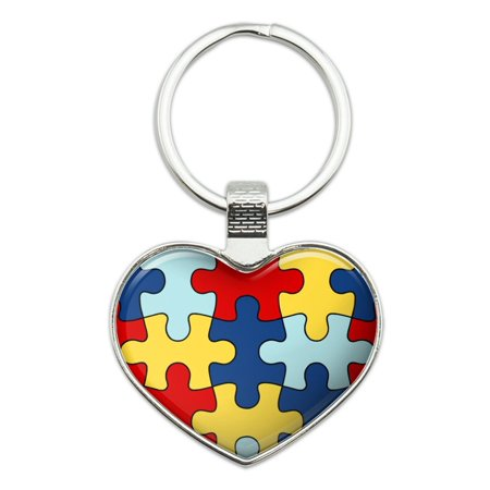 Autism Awareness Diversity Puzzle Pieces Heart Love Metal Keychain Key Chain Ring (Autism Awareness Keychain)