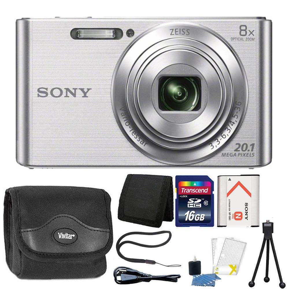 Sony Cybershot W830 20.1MP Compact Digital Camera Silver with Complete Accessory Bundle