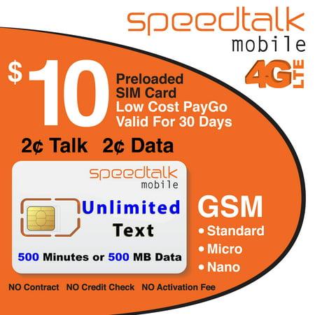 Unlimited Text Standard Micro And Nano Prepaid Sim Card